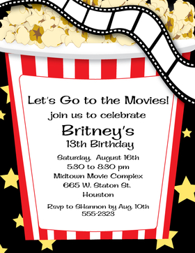 Lets start the Movie!   This fun laser paper that is created with a movie themed film strip that flows across the top and a giant box of popcorn ready to eat.  Great for birthday parties and special events.   envelopes sold separately.