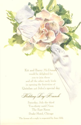 Absolutely elegant bridal design that is printed on an ivory card stock and embellished with a white silk ribbon that runs through the flower bouquet.  This invitation is perfect for a summer wedding shower, or bridal shower.  includes ribbon and envelope.  Assembly is required.