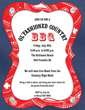 A western themed cookout is always a great way to get the word out about that annual family BBQ or the Company cookout.  This fun bandana bordered paper that has a blue denim look on the edging is perfect to send out your party plans.    white envelopes are available but sold separate.