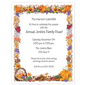 What a great paper for this Thanksgiving season! a garland of falls finest harvest. Makes a wonderful paper for inviting the family over for a traditional feast.  Envelopes are sold separate.