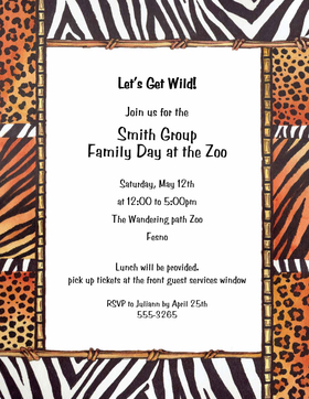 Get Wild with animal print! This great laser paper has zebra, cheetah, tiger prints mixed as a border to make one great animal print party paper! Envelopes are available but sold separately.