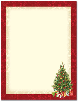 <br>This new design desktop/EZ-print Happy Holiday Trees Laser Paper is a cinch for you to print on your inkjet/laser printer. Dont forget the coordinating #10 size envelope shown. (NOT AVAILABLE PERSONALIZED)