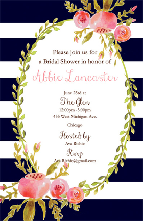 Beautiful for spring, this black and white designer invitation is elegantly , bordered with soft pink flowers and foliage.     Printed on textured heavy cardstock.  Coordinating envelope included.