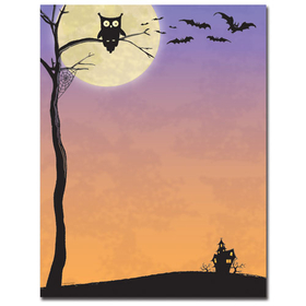Great for halloween, this paper has a black cobweb designer bordered laser paper has small fun wording that is created for a halloween fun time!  colored envelopes are available but are sold seperately. <br>