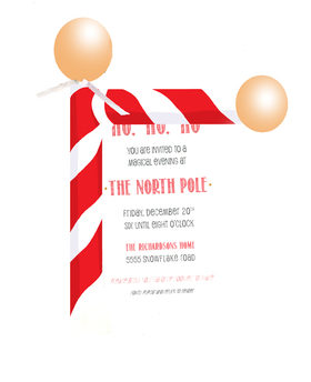 North Pole Holiday or Christmas invitation. Attached by a white ribbon to a 3.5x5 card.  Assembly is required. Includes a white envelope.  Assembly is .25 per card if needed.