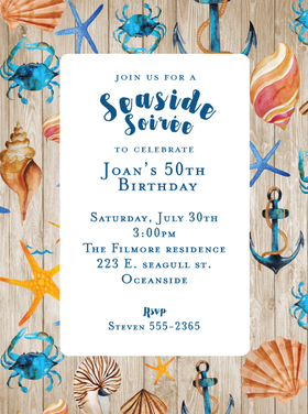 A Seaside bash is always a great time in the summer months.  This beautiful bordered invitation gives a great design and colorful pop of blues to create your perfect beachside theme to your party.  Includes a white envelope. <br>