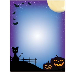 A great Halloween laser paper that is perfect for your Halloween festivities.  Designed with dark scary sky and jack-o-lanterns and black cats sitting below.  Our desktop/EZ-print papers are a cinch for you to print on your inkjet/laser printer. Dont forget the coordinating #10 size envelope shown. (NOT AVAILABLE PERSONALIZED)
