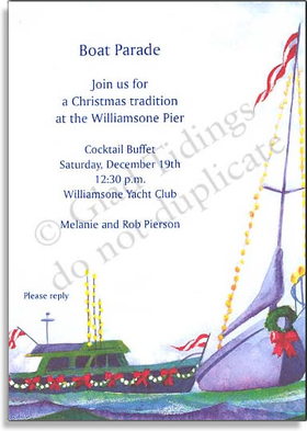 This great holiday boat parade party is one your guests will remember! Designed with a watercolor look and shows the joys of the season with festively dressed boats making their way down the coast lit up for showing their holiday spirit! does not include envelopes. <br>