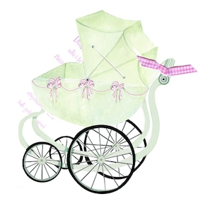 Celebrate a baby girl with this antique baby stroller design with pink and white ribbons running along the basket. A pink ribbon attaches the white invitation card  a 3.5 x 5 card to print your personalization.  This does require assembly and we do offer assembly for personalized orders for a .50 charge per card.  Includes a white envelope. Please make a comment in the customers comments section if you would like to add assembly.   (if you would like glitter option added please make a comment in the customer comment section.  Add $.50 per invitation if you would like us to add a touch of glitter -personalized orders only).