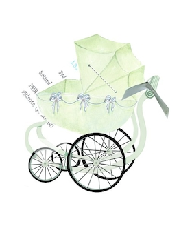 Celebrate a baby boy with this antique baby stroller design with and green ribbons running along the basket. A blue ribbon attaches the white invitation card  a 3.5 x 5 card to print your personalization.  This does require assembly and we do offer assembly for personalized orders for a .50 charge per card.  Includes a white envelope. Please make a comment in the customers comments section if you would like to add assembly.   (if you would like glitter option added please make a comment in the customer comment section.  Add $.50 per invitation if you would like us to add a touch of glitter -personalized orders only).