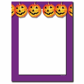 what better way to send your Halloween announcement than this purple border laser paper that has bright orange jack o lanterns across the top!  colored envelopes are available but are sold seperately. <br>