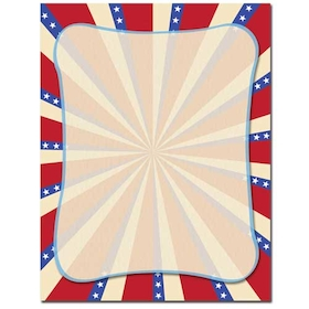 Red, White and Blue! this is perfect for your 4th of July party.  Our desktop/EZ-print papers are a cinch for you to print on your inkjet/laser printer. Dont forget the coordinating #10 size envelope shown. (NOT AVAILABLE PERSONALIZED)