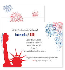 This patriotic design features the red silhouette of the Statue of Liberty in one corner and exploding fireworks in another.  This invitation is perfect for your 4th of July party or patriotic event!  Available blank or personalized and coordinating envelopes are included.