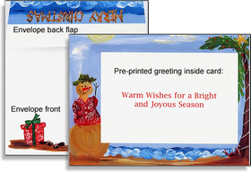 This photo card shows a tropical snowman in the border who has managed to beat the heat and the cold by enjoying a holiday in the tropics! Complete with a Hawaiian print shirt, rolling white-tipped waves, and a palm tree on the beach, this card is sure to make your friends and relatives jealous!<p><b>Horizontal </b> photo to max size 4&quot; x 6&quot; attaches to front of card.</p> <p> If ordering <b>BLANK</b> option, the greeting <b>&quot;Warm Wishes for a Bright and Joyous Season&quot;</b> will already be imprinted on the inside of the card. If you prefer the card totally <b>BLANK</b> inside, please note that in the comment section of the order form.</p> <p>If ordering <b>PERSONALIZED</b> option, any additional text you specify will be printed inside the card. </p><br>