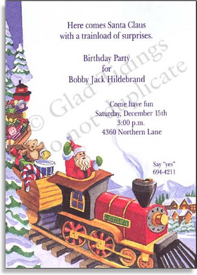 Choo choo!  Santas express is on its way!  His toy train is overflowing with dolls and toys of every variety, with Santa Claus himself leading the way!  A snow covered village and pine trees are decorating the background at the North Pole.  Great for your events this holiday season.  <p>Premium quality cardstock includes white envelope. Inkjet/laser compatible and available blank or personalized.</p>