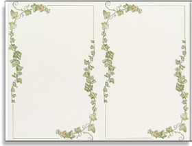 These elegant ivory invitations are bordered in trailing ivory.  They add a simple touch of grace to any occasion.  Especially great for anniversaries or weddings.<p>Save time with our perforated 2-up invitations.  Each 8.5&quot; x 11&quot; sheet makes 2 invitations size 8.5&quot; x 5.5&quot;, printed on ivory stock.  Includes ivory envelopes.</p> <p>Note pricing/quantities below are for actual cards you will have after printing.  Example:  Order quantity 16 and you will receive 8 sheets of 2 invitations per sheet. (NOT AVAILABLE PERSONALIZED)</p>