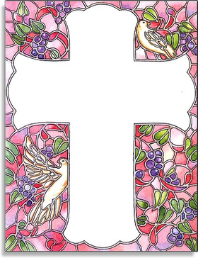 "A beautiful stained glass look for a special occasion!  This Cross laser paper could be used for a little girls Communion, Baptismal or any relious celebration.  Our premium quality 8.5"" X 11"" laser paper is easy to print on your inkjet/laser printer or we can personalize it for you!  Envelopes are sold separately."