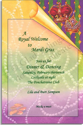 This gorgeous invitation shows a purple, green, and yellow background is decorated with bright pearls and golden coins.  A corner of the paper design appears folded down to reveal bright stripes and sparkling crowns, traditional of Mardi Gras festivities. <p>Make an impression with these Mardi Gra themed invites. This uniquely colorful card is premium quality cardstock with printable vellum that attaches with sticky tape into die-cut corner. White envelope included.  Inkjet/laser compatible and available blank or personalized.</p>