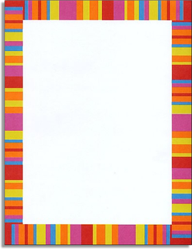 "Bold stripes in a classic border design give simplicity a whole new and exciting meaning. With red, orange, yellow, blue, and fuschia, this paper is great for colofully themed parties or events. Try coordinating it with our ""Polynesian Sunset Paper"" for a more tropical kick. <p>Make an impression with our premium quality designer 8.5 "" x 11"" paper & coordinating envelopes which are laser/inkjet compatible. Coordinating envelopes are sold separately.</p> <p>Easy to print on your printer or we can print for you.</p>"