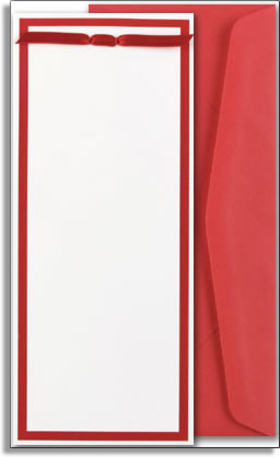 This beautiful slim invitation is decorated with a scarlet red border and tied with a satin ribbon.  The length of this invitation keeps the elegance of your event to a maximum, and offers versatility in its simplicity to be used for Christmas, Valentines day, or even a bridal event.<p>Make an impression with these slim invitations with satin ribbons. Perfect for your special formal event. Assembly is required but is very easy. Coordinating red envelopes and ribbons are included.</p>