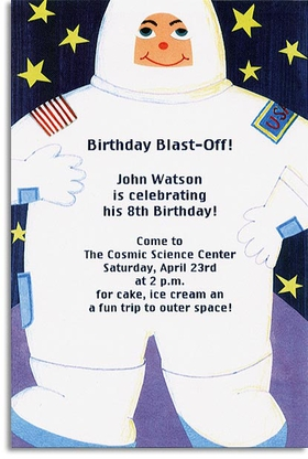 This fun invitation is a great way to blast off your next event!  Printed on premium quality cardstock and envelopes are included. Inkjet/laser compatible and available blank or personalized.
