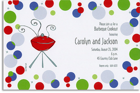 This retro design with blue, green, red, and silver polka dotted border surrounding a smoking grill is a hip choice.  Great for any cookout or summer BBQ get together. <p>A trendy design printed only on premium fine quality 80 lb. card stock. Available either blank or personalized. Includes white envelope.</p>