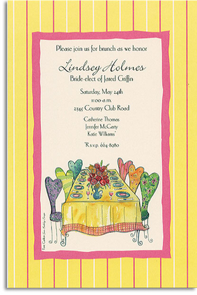 A ladies only brunch!  Enjoy your special event with this light and Spring themed invitation decorated in a pink and yellow border with a perfectly set luncheon table.  Each chair is uniquely designed to mirror the diversity of your guests!  Its a perfect choice for bridal, wedding, or baby showers.<p>Trendy design printed on premium fine quality 80 lb. IVORY cardstock. Sold as personalized only. Includes ivory envelope.</p>