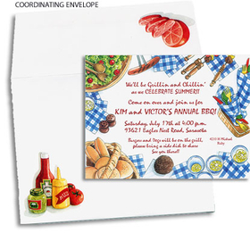 Blue checkered picnic table napkins, hotdogs, hamburgers, and buns, salad and lemonade. This cute and summery invitation is perfect for your summer grilling party or barbeque! Premium quality cardstock includes coordinating envelope decorated with condiments and tomatoes shown. Inkjet/laser compatible and available blank or personalized