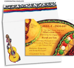 Having a Mexican fiesta? This colorful red, green, and white sombrero invite in traditional Latin theme is sure to push your event from calm to caliente! Make an impression with our special invitations! Premium quality cardstock includes coordinating envelope shown. Inkjet/laser compatible and available blank or personalized.