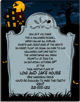 Graveyard spooks and creepy nights!  Celebrate your ghoulish Halloween event with this creepy paper depicting a cobwebbed tombstone.  In the background are all of Halloweens favorite images: glowing eyes, a gnarled tree, bats in flight, a wicked witch on her broomstick outlined by the full moon, a haunted mansion, and a black cat! Make an impression with our colorful designer 8.5&quot; x 11&quot; paper which is inkjet/laser compatible. You wont find premium quality paper like this at your local store. <p>Envelopes are sold separately.  Select your choice of color.</p>
