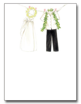 "The clothes of a tropical bride and groom are pinned up and gracefully swaying in the wind across the top of this paper. The lei and leafy boa of the big days festivities are still dangling from the garments.  This quality laser paper is perfect for a destination wedding or themed couples shower.  Our premium quality designer 8.5"" x 11"" paper and coordinating envelopes which are laser/inkjet compatible.  <br><br>Envelopes are sold separately."