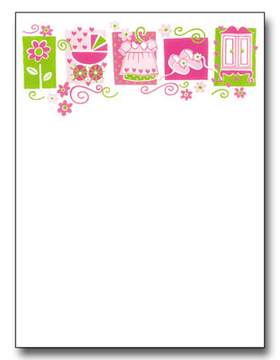 this charming design features a top border of pretty little girl items a flower