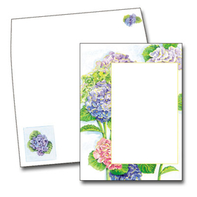 This beautiful design features a border of colorfu hydrangea with large green leaves against a light blue background.  This invitation is great for a ladies luncheon or tea!  <br><br>Printed on premium quality cardstock and the coordinating envelopes are included.