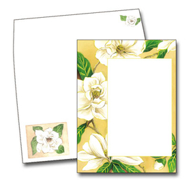 This beautiful design features a border of large white gardenias with green leaves against a beige background.  This invitation is great for a ladies luncheon or tea!  <br><br>Printed on premium quality cardstock and the coordinating envelopes are included.
