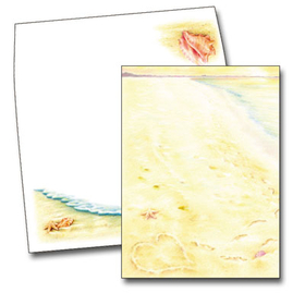The golden sandy beach is the backdrop for this romantic design, but the love between two people is the true subject. With a heart drawn in the sand, and footprints awalking away side by side, this romantic card is an ideal choice for a destination wedding or couples event with a beach theme. The coordinating envelopes are included.