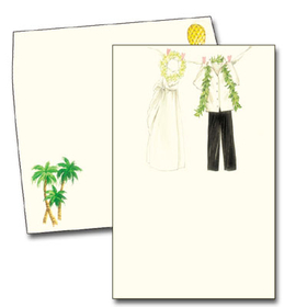 The clothes of a tropical bride and groom are pinned up and gracefully swaying in the wind across the top of this card.  The lei and leafy boa of the big days festivities are still dangling from the garments. With a coordinating envelope decorated with palm trees and a pineapple, this invitation is perfect for a destination wedding or themed couples shower. <p>Premium quality CREME cardstock includes coordinating envelope shown.  Inkjet/laser compatible and available blank or personalized.</p>
