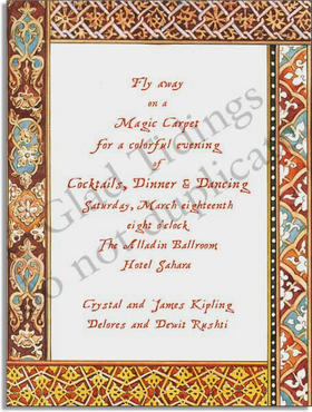 The unique and intricate bordering of this invitation brings Moroccan luxury to life! It includes golds, blues, and rich browns reminicent of the style, with elegant designs fit to each side.  Great for any occasion! <p>Premium quality cardstock includes coordinating envelope shown. Inkjet/laser compatible and available blank or personalized.</p>