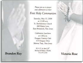 This Communion Card is sure to make your childrens first holy communion memorable.  This elegant gray and white design shows a boy and girl standing in prayer for their special First Communion.  The boy is dressed in a dark suit and the girl is wearing a beautiful white dress with gloves. Your personalization is printed on a delicate vellum overlay that is carefully assembled for you.  <b>If ordering a sample, this will be mailed with &quot;Sample&quot; text only. we do not customize sample orders.</b><br><br>If you would like the names to appear by each figure please place name in the customer commnents section and we will place them for you.<br><br><br>