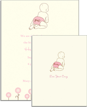 Product Image For Rachel's Diaper Invitation - Pink on White Cardstock
