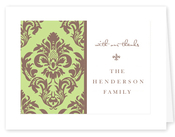 Product Image For Green and Brown Damask Notecard