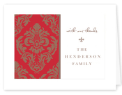 Product Image For Red and Brown Damask Notecard