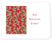 Product Image For Red and Green Scroll Notecard