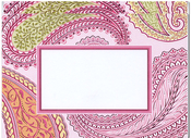 Product Image For Pink Paisley Embossed Note Card
