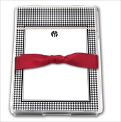 Product Image For Black and White Houndstooth with Cranberry Ribbon