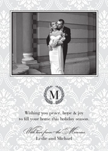 Product Image For Silver Damask Photo Card