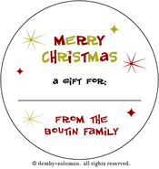 Product Image For Retro Christmas personalized Gift Sticker