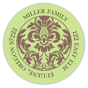 Product Image For Green and Brown Damask Address Label