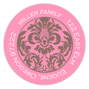 Product Image For Pink and Brown Damask Address Label