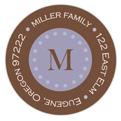Product Image For Blue Center Monogram Return Address Label