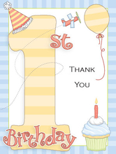 Product Image For 1st Birthday Party Boy Note Card